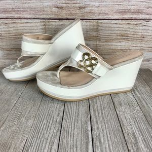 Coach White Wedge Sandals